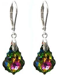 Cristal de Swarovski Vitrial Queenberry medio de plata de ley pendientes de plata de ley