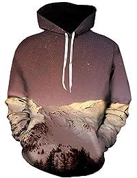 Doublehero Herren Kapuzenpullover Pullover Herbst Winter Hooded 3D Galaxy  Druck Langarm Hoodie Sweatershirt Sport Oberteile… 25be05c961