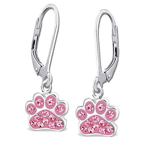 Damen Pfote Ohrhänger echt 925 Sterling Silber mit Zirkonia Mädchen Frauen Kinder Ohrringe Pfötchen Brisur Pink K462
