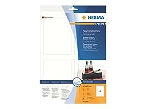 Herma 8882 Flaschenetiketten (A4 Papier glänzend, 90 x 120 mm) 40 Stück weiß