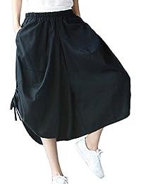 Elegantes Moda Pantalones De Tela Mujer Verano con Cordón Elastische Taille  con Bolsillos Bandage Color Sólido 42064028f72b