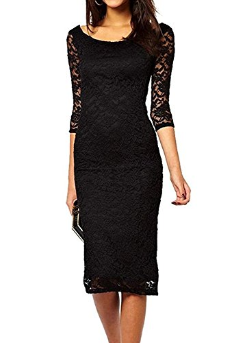 Blazar Dresses for Wedding Guest Sexy Women's Bodycon Mini Dress Lace 3/4 Sleeve Lined Ladies Evening Cocktail Formal , Black L