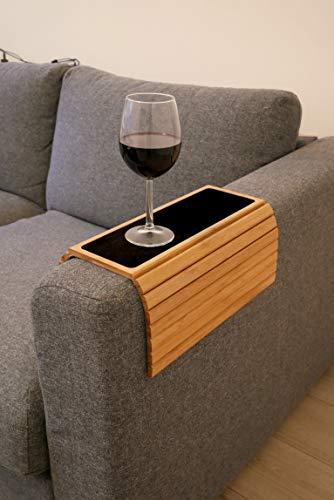 Global Quality Sofatablett für Armlehne, Bambus Holz Sofa Ablage für Armlehnen, Tisch Anti-Rutsch Armlehne Protektor Getränkehalter Untersetzer - Glas Rechteckige Sofa-tisch