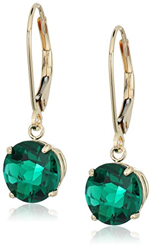 10k-yellow-gold-round-checkerboard-cut-created-emerald-leverback-earrings-8mm