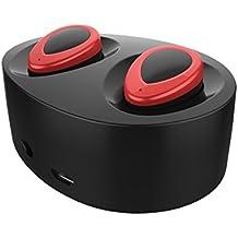 Mini auriculares Bluetooth Fodlon® Mini inalámbrico Bluetooth 4.1 auriculares Auriculares de diseño en el oído Cancelación de ruido Manos libres auriculares de prueba de sudor con cargador Stand-negro y rojo