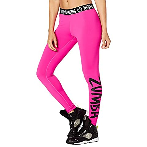 Zumba Fitness Never Stop Dancing Legging Femme, Shocking Pink, FR : S (Taille Fabricant : S)