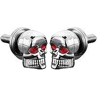 Funnyrunstore Un Par/Set Accesorios de Coche de Motocicleta Decoración de Cráneo Matrícula Marco Pernos Tornillo Sujetador Para Motocicleta (Color: plata)