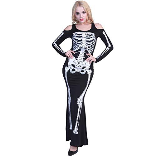 EraSpooky Donna Lunghe Vestito Scheletro Costume Party Halloween