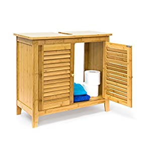 Relaxdays Mueble Lavabo LAMELL, Armario Bajo para el Baño, Bambú, 60 x 67 x 30cm, Marrón, Naturaleza
