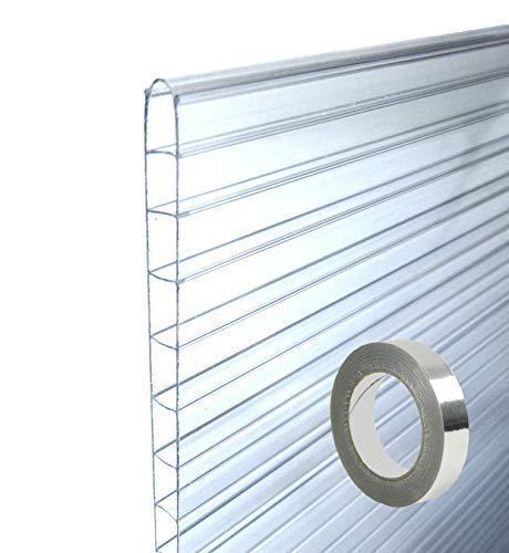 MacGreen® Doppelstegplatten Hohlkammer-Platten-Set (6 Platten 61 x 125 cm), Stärke: 6.0 mm 1 Rolle Abdichtklebeband 50 m