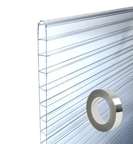 MacGreen® Doppelstegplatten Stegplatten Hohlkammerplatten Set (4 Platten 61 x 185 cm) 6 mm + 1 Rolle Abdichtklebeband 50 m