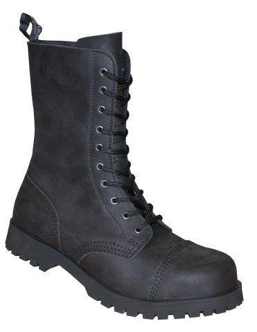 Boots braces &10 trous crazy horse nubuck noir, bottes mixte adulte 601324 Noir - Noir