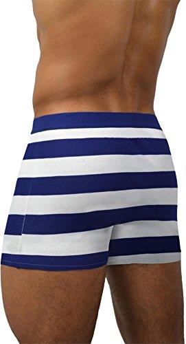 6 x Herren Boxershorts mit weichem Abschlussrand aus Baumwolle mit Elasthan Navy Strype
