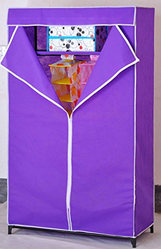Portable Foldable One Single Shelf Clothes Closet Wardrobe Non-woven Fabric Multipurpose Storage Organizer Cupboard Purple Almirah By Krishyam  available at amazon for Rs.1199