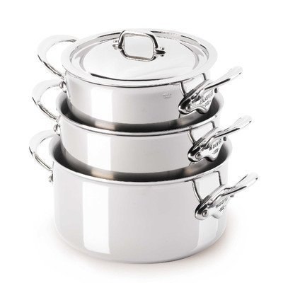 Mauviel Cookware: M'Cook Stainless Steel Stewpan with Lid by Mauviel