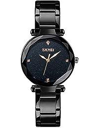 Reloj de Moda para Mujer Reloj de Pulsera de Cuarzo analógico Pulsera  Rhinestone Banda de Acero Inoxidable Pretty Starry… c2de028c90e8