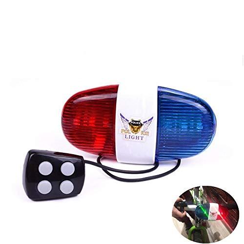 Erlsig Fahrrad Licht mit Sirene, 5 LED Fahrrad Licht Elektrische Hupe Sirene Horn 4 Sounds Trompete Glocke