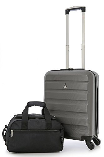 Aerolite Super Lightweight ABS Hard Shell Travel Carry On Cabin Hand Luggage Suitcase with 4 Wheels, Approved for Ryanair, Easyjet, British Airways, Virgin Atlantic and Many More (Charcoal + Holdall)