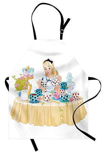Soefipok Alice im Wunderland Schürze, Alice gießt Tasse Tee mit Cupcakes Blumen im Wunderland Fantasy, Unisex-Küche Latzschürze mit verstellbarem Hals zum Kochen Backen Gartenarbeit, ()