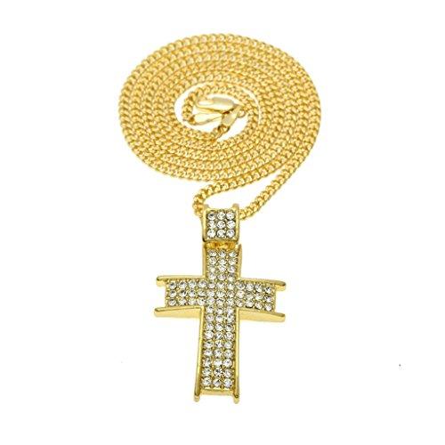 KnSam-Unisex-Chapado-en-Oro-Collares-Colgantes-Jesus-Cruz-Prayer-Cadena-OroPlata-CristalCollar-de-Novedad
