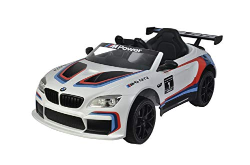 Shov EIMALIGES Elektro KINDERAUTO BMW M6 GTR3 ORIGINAL BMW Lizenz Elektro Auto KINDERFAHRZEUG IN 2 Farben (Weiss)