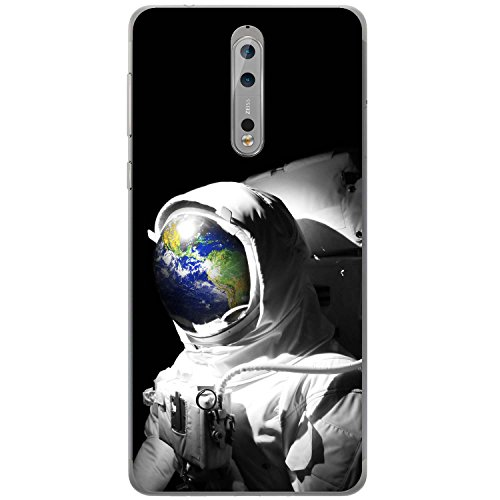 Astronautenanzug & Spiegelbild der Erde Hartschalenhülle Telefonhülle zum Aufstecken für Nokia 8