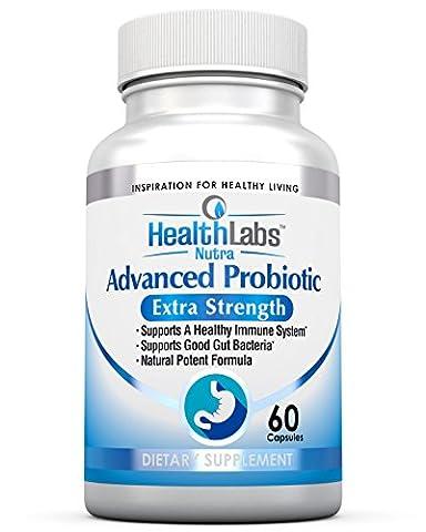 Nr. 1 Erweiterte Probiotische Formel Extra Stärke Ergänzungsmittel für ein gesundes Immunsystem, erzeugt gute Bakterien, lindert undichten Darm, Übelkeit, Verdauungsstörungen, Reizdarmsyndrom - Unterstützt Ihr Immunsystem, für Frauen, Männer und Kinder, 60 Kapseln - 100% Kraft Formel