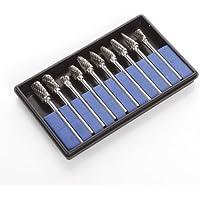 """SHINA 10 x 1/8 """" Fresa de Carburo de tungsteno Dremel Rotary Burr para el tratamiento de diversos metales, sinmetálicos trinchar, grabado, perforación de carpintería"""
