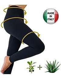 Figurformende Anti-Cellulite lange Hose (Leggings) mit ALOE+grüner Tee - schwarz Größe S