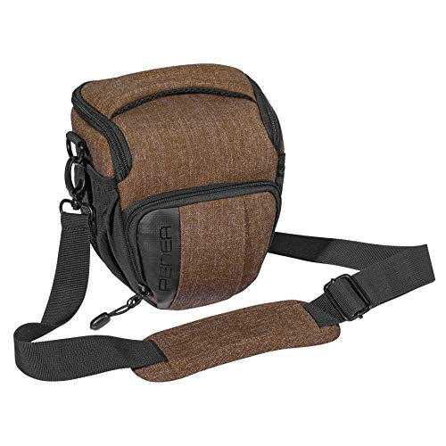 """PEDEA DSLR-Kameratasche """"Fashion"""" Fototasche für Spiegelreflexkameras mit wasserdichtem Regenschutz, Tragegurt und Zubehörfächern, Gr. M braun"""