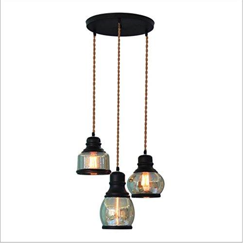 GWM Kreative Glas Cafe Kronleuchter, 3 Kopf Lampen, 1 Meter Hanging Line Einstellbar, Stile Zur Verfügung, Geeignet Für Restaurants, Bekleidungsgeschäfte, Bar (größe : 30cm)
