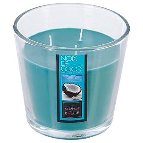 Bougie 3 mèches 500 g parfum Noix de Coco avec vase en verre.
