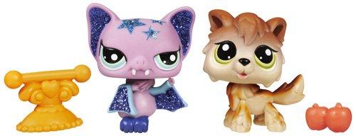 Imagen principal de Hasbro Littlest Pet Shop Brillante + amiguita Lobo y murciélago - Mascota de juguete con purpurina con 1 amiguita