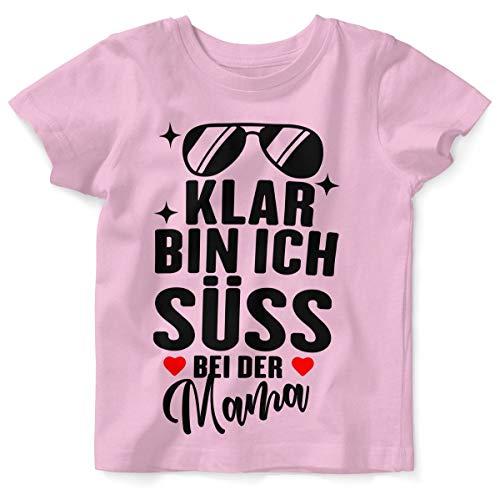 Mikalino Baby/Kinder T-Shirt mit Spruch für Jungen Mädchen Unisex Kurzarm Klar Bin ich süß - bei der Mama   handbedruckt in Deutschland   Handmade with Love, Farbe:rosa, Grösse:92/98