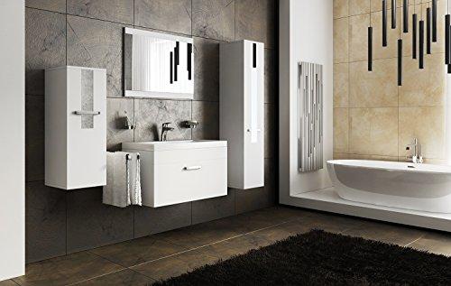 SHERI Modernes Badmöbel-Set, Becken, Spiegel, Wäschekorb, Kompakte Aufbewahrung, Garderobenschränke, Weiß  Schwarzes  Sonoma (Weiß MAT base  Weiß MAT front)