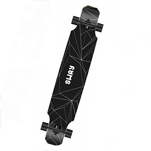 Skateboards Longboard Einsteiger Profi Road Double Rocker Girl Boy Four Wheeler Geschenk (Color : Black, Size : 120 * 23 * 12cm)