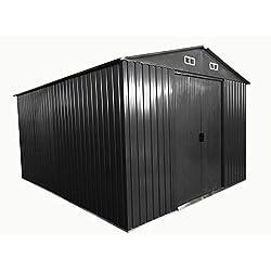 ASS Gartenhaus Geräteschuppen 13m² 3x4,5m aus verzinktem Stahlblech Metall Grau 'mit Großer Türe' von