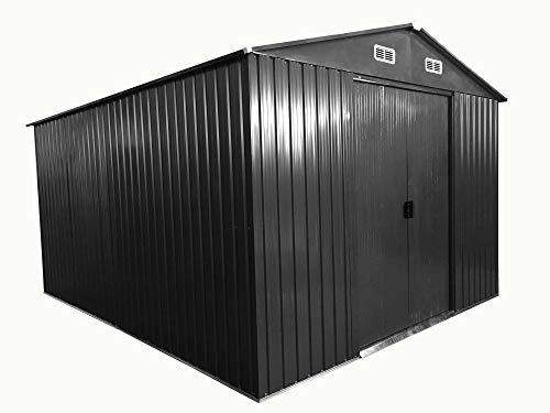 ASS Gartenhaus Geräteschuppen 13m² 3x4,5m aus verzinktem Stahlblech Metall Grau 'mit Großer...