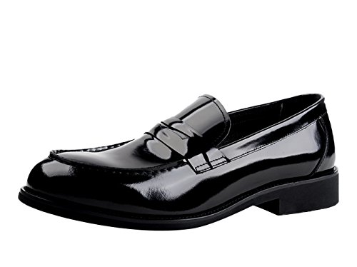 Insun Herren Lackleder Schlüpfen Halbschuhe Schuhe Schwarz