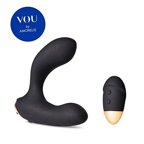 VOU by AMORELIE - Premium Prostata Vibrator OPACO mit Fernbedienung Schwarz - 14 Vibrationsmodi Silikon Toy