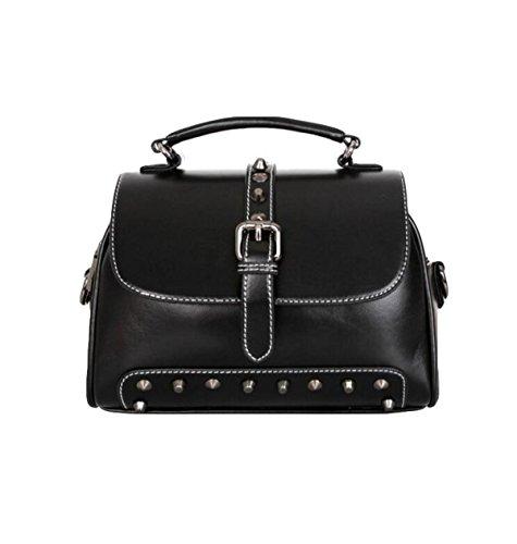 Damen Schräg Gekreuzte Paket Nieten Umhängetasche Mode Tasche Handtasche Reißverschluss Tasche Black
