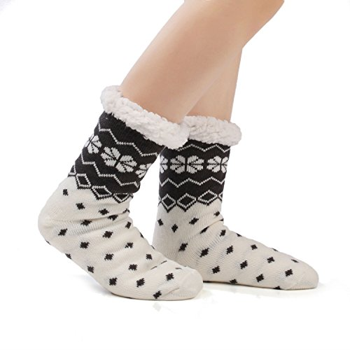 Damen Kuschelsocken Winter Warme Socken Stoppersocken Hausschuhe Weihnachten mit ABS Rutschfest (EU 36-42, Schneeflocke Schwarz)