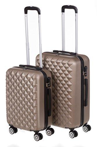 Hartschale Kofferset MONACO 2-teilig Gr. M+L, 56+65cm, 42+68 Liter mit 360° Rollen und Zahlenschloss verschiedene Farben (iced coffee)