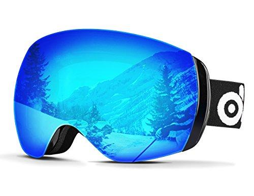 Odoland Maschera da Sci, Unisex Occhiali da Sci senza montatura per Sci, pattinaggio, motoslitte e snowboard,Lente Sferica a Doppia Strato con Protezione UV400 e Anti-Fog