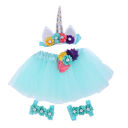 Amosfun 4pcsUnicorn Tutu Skirt kit with Headband and Foot Flower for Girls Party(Green) Little Angels Flower Girl