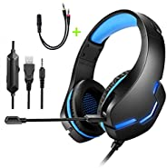 Gaming Headset for PS4, Xbox One, PC&Noise Cancelling Mic&LED Light,50mm Hi-Res,Compatible with Ninten