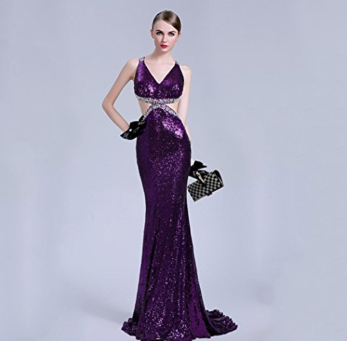Heart&M Formelle Abendkleid rückenfrei Sweep Zug Deep-V Sequin Bead Sleeveness Popeline . f . purple