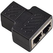 Conectores Splitter RJ45 Adaptador 1 a 2 Ethernet Splitter Coupler Enchufe doble HUB Interface Contacto Modular Plug Connect Red LAN Internet Cat5 Cat5e Cat6 Cat7 Cables para PC portátil (AVISO: EL DOS PUERTO NO PUEDE TRABAJAR AL MISMO TIEMPO)