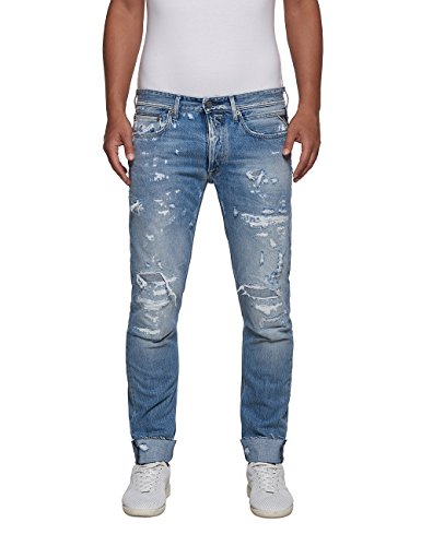 Replay Men's Ronas Men's Light Blue Slim-Fit Jeans 100% Cotton Light Blue