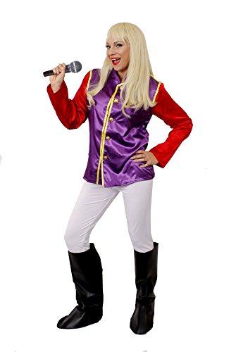 Frauen Musik KOSTÜM in Lia/Rot mit Blonder PERÜCKE =FÜR VERKLEIDUNGEN der 80iger JAHER = Schwedische POPGRUPPEN= ERHALTBAR in 5 Verschiedenen GRÖßEN= XXLarge